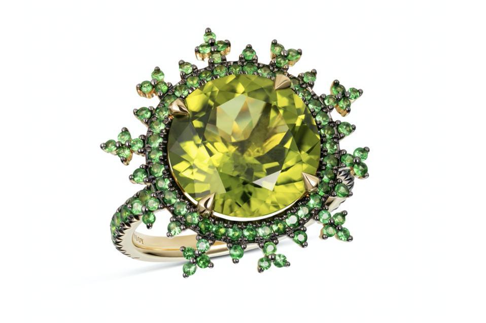 Nadine Aysoy Tsarina Apple Flake ring in 18K yellow gold with peridot and tsavorite, $6,260, nadineaysoy.com