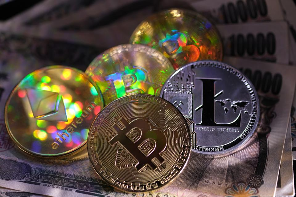 Representations of the digital Cryptocurrency, Bitcoin, Litecoin and Ethereum