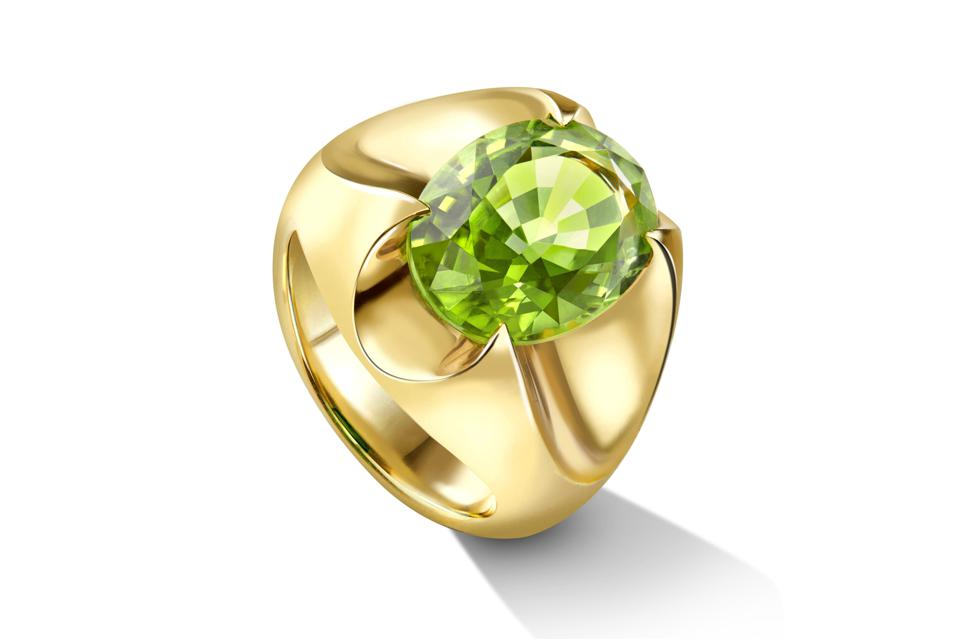 Liv Luttrell x Fuli Gemstones ring in 18K yellow gold with peridot, $8,610, livluttrell.com