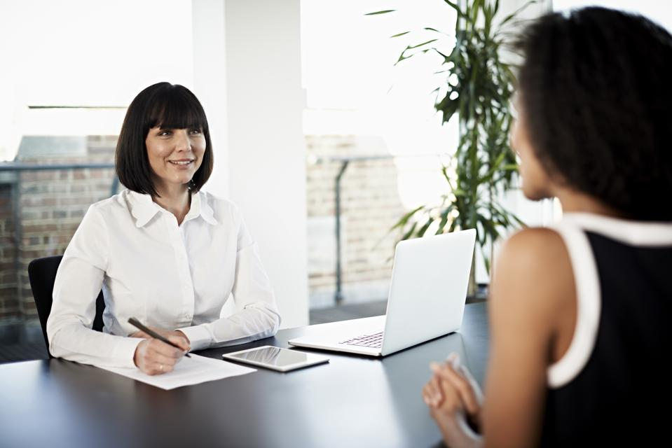 Businesswoman conducting an interview