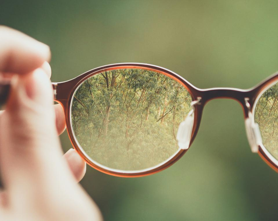 Person holding brown eyeglasses