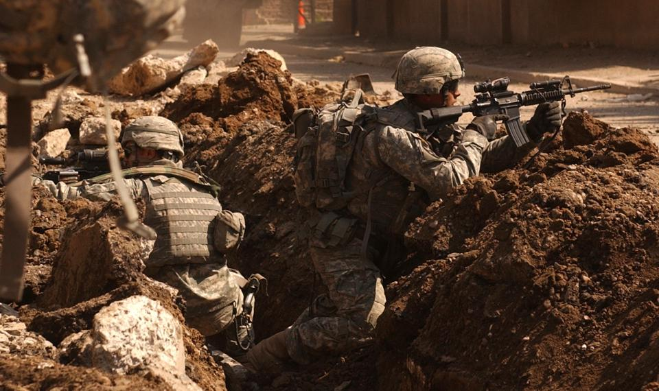 US troops firefight Baghdad.