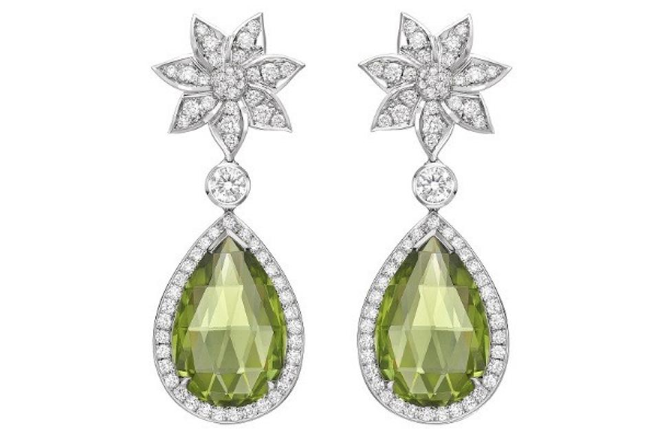 Theo Fennell earrings in 18K white gold with diamond and peridot, $35,300, theofennell.com