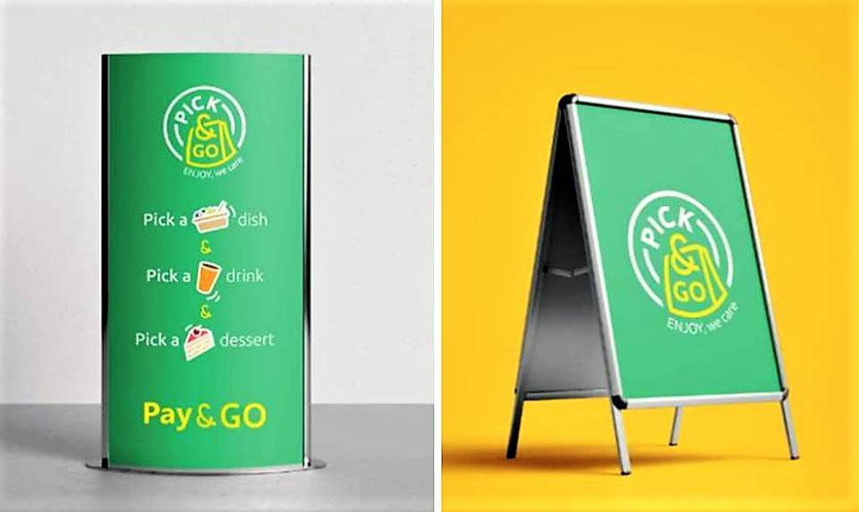 Promotional A-board and stand for Pick & Go concept.