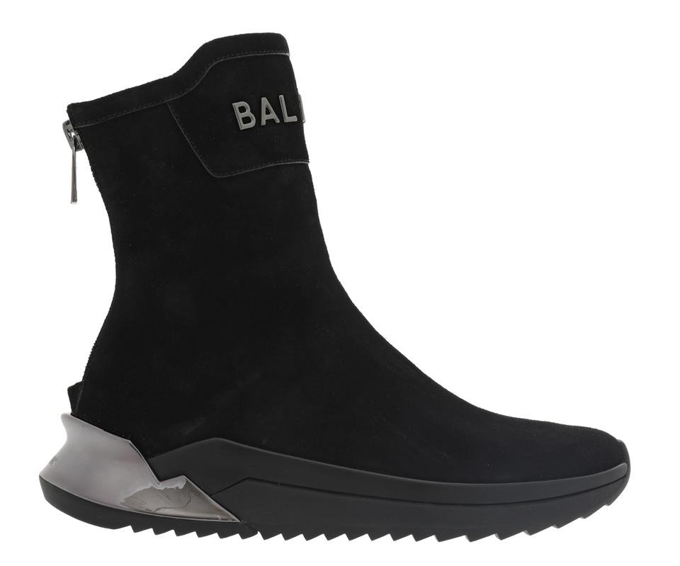 Black suede B-Glove high-top sneakers with silver-tone Balmain logo