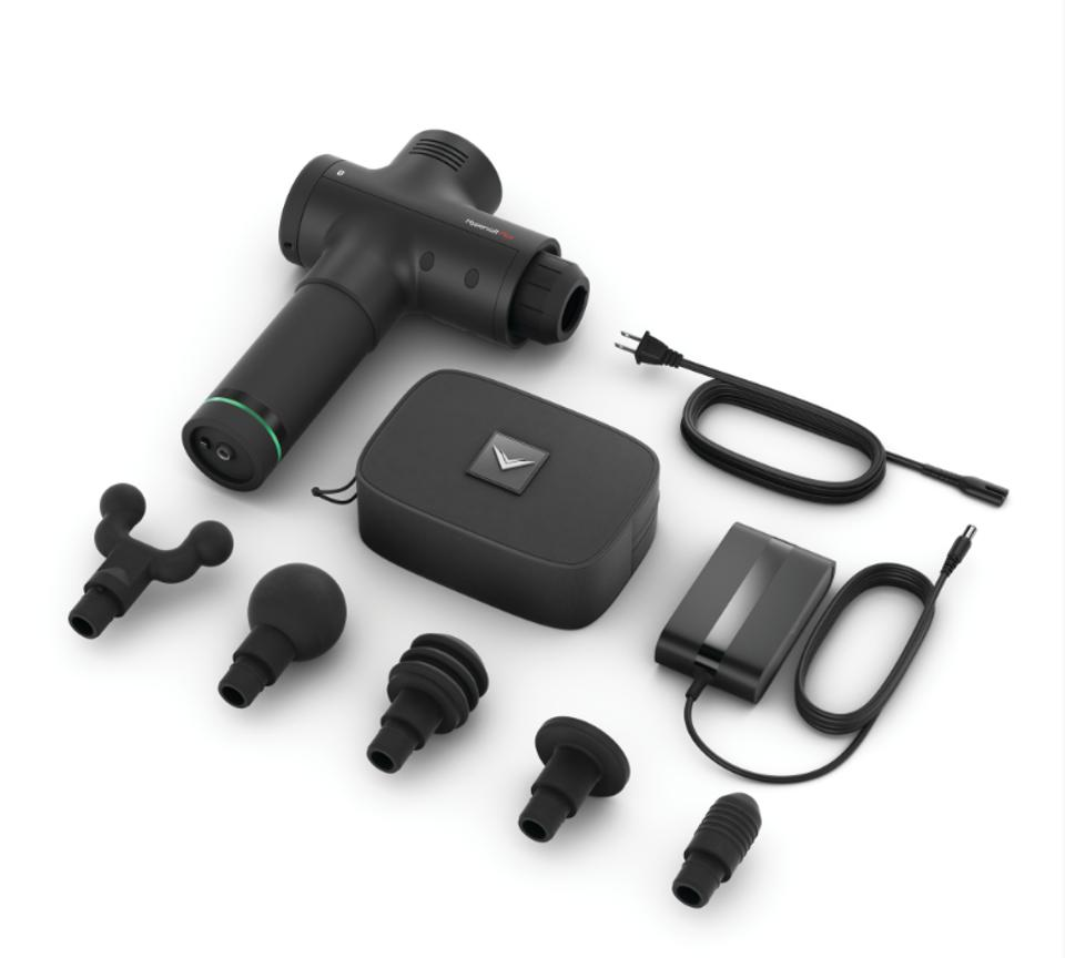 Hyperice Hypervolt Bluetooth and Bluetooth Plus attachments, battery, companion bag and additional components