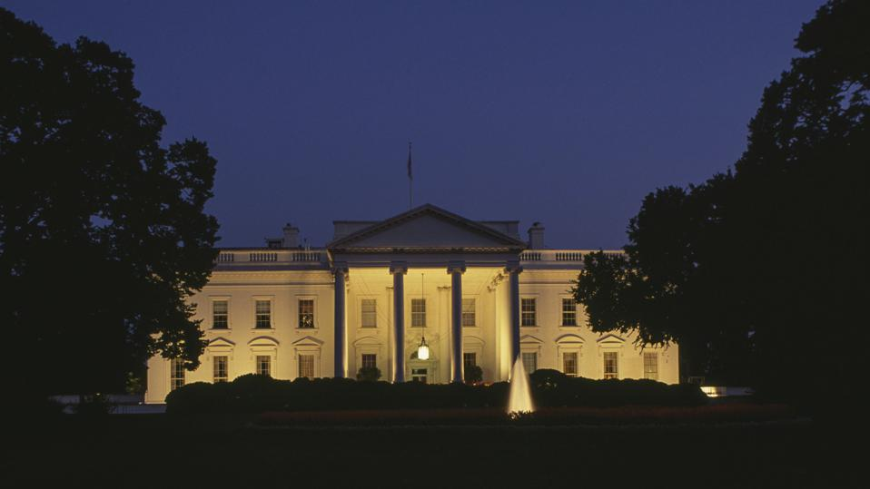 Night view of South Facade of White House