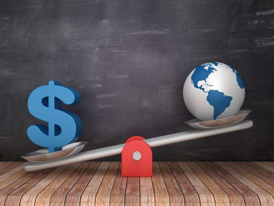 Seesaw Scale with Dollar Sign and Globe World on Chalkboard Background - 3D Rendering