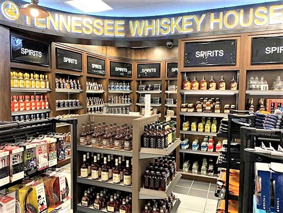 Liquor display at an airport store in Nashville International Airport.