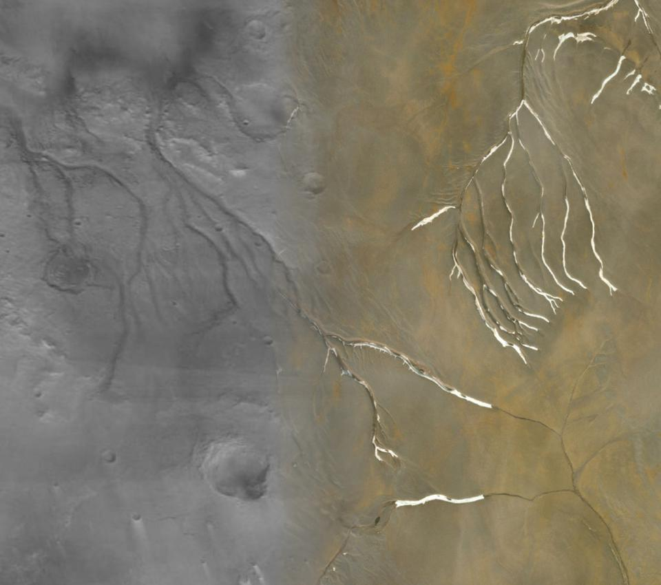Collage showing Mars's Maumee valleys (left half) superimposed with channels on Devon Island in Nunavut (right half). The shape of the channels, as well as the overall network, appears almost identical.