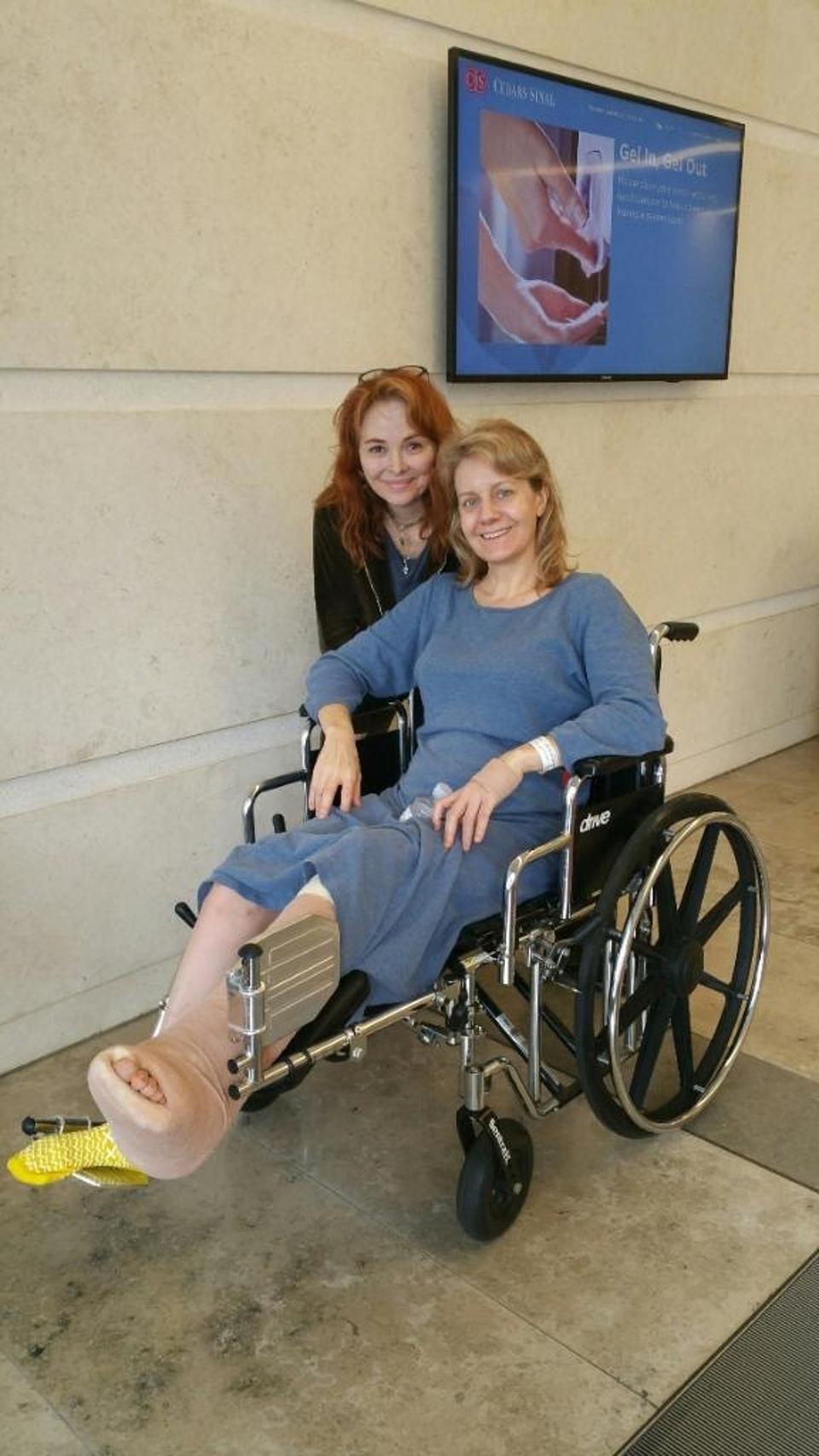 Eileen Grubba is in a wheelchair after a surgery on her leg.