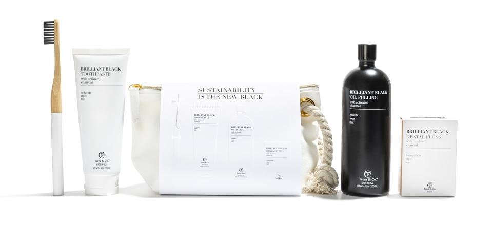 Terra & Co's Sustainability Is The New Black Set features best-selling products in one convenient travel bag. Choose Terra and Co. for sustainable dental products made with Mother Earth in mind.