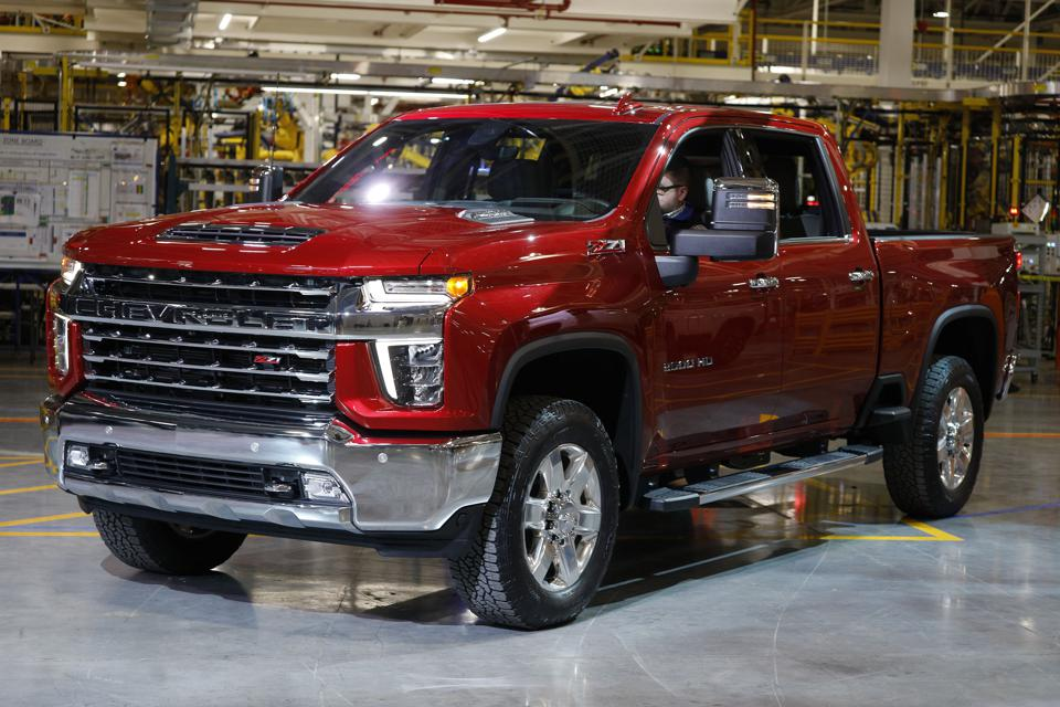 A red 2020 Chevy Silverado just off the assembly line in Flint, Michigan.