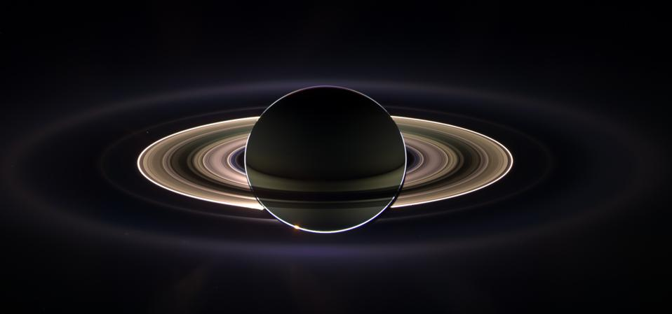 Cassini's view of Saturn's rings as they surround the planet.