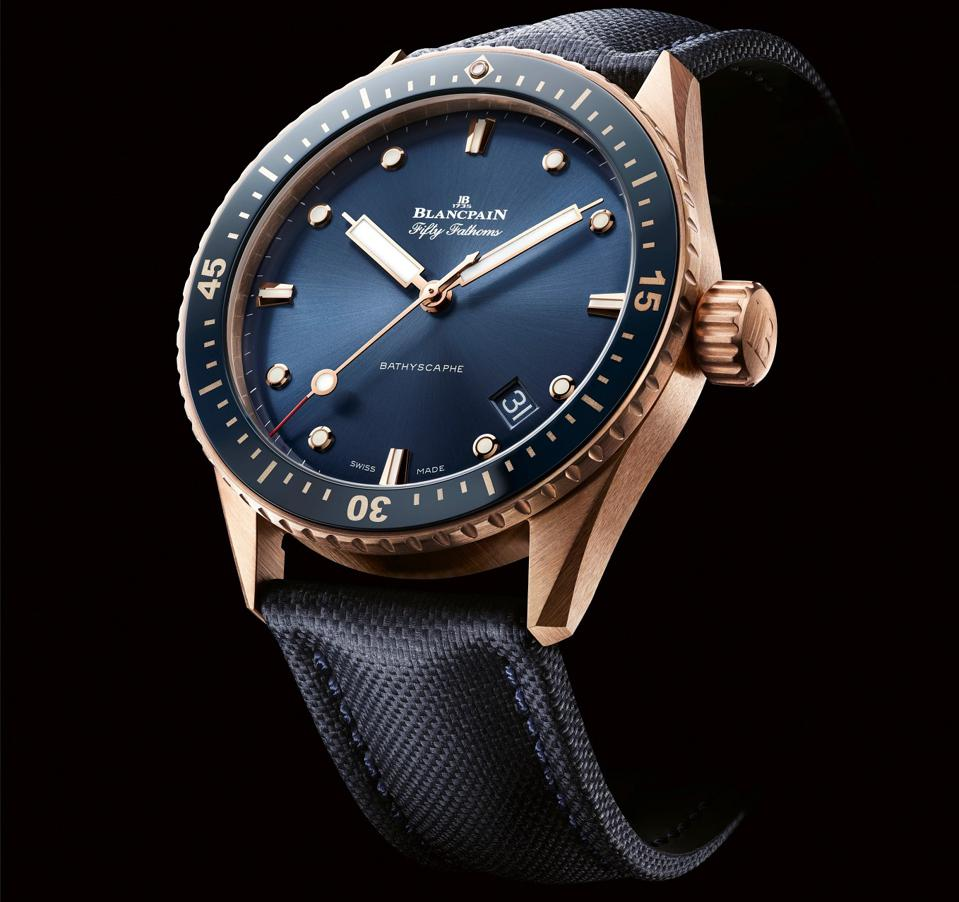 Blancpain Fifty Fathoms Bathyscaphe with blue dial and Sedna red gold