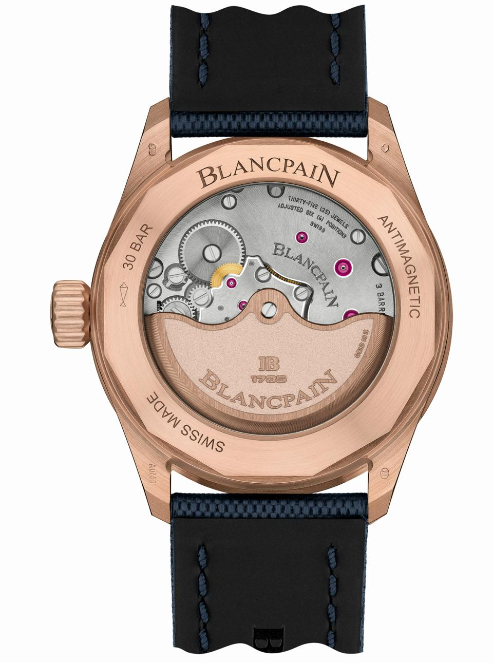 The caseback of the Blancpain Fifty Fathoms Bathyscaphe with blue dial and Sedna red gold