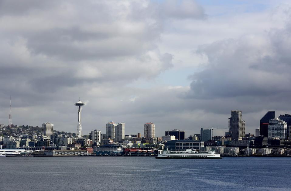 Washington State Ferry near downtown Seattle