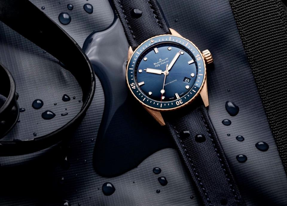 The Blancpain Fifty Fathoms Bathyscaphe with blue dial and Sedna red gold