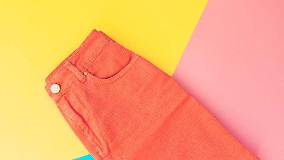 orange denim skirt for woman.