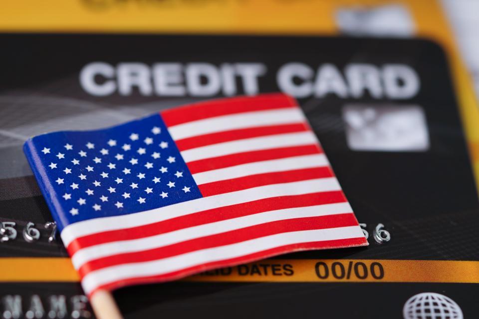 USA America flag on credit card