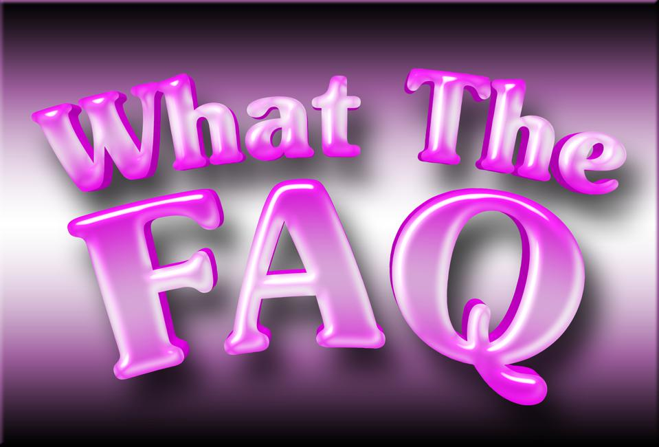 Large Shiny Pink Text: What The FAQ, 3D Illustration, Isolated Against the Gradient Background.