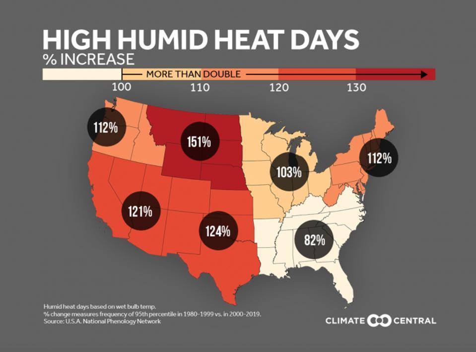 Días de calor húmedo basados en la temperatura del bulbo húmedo