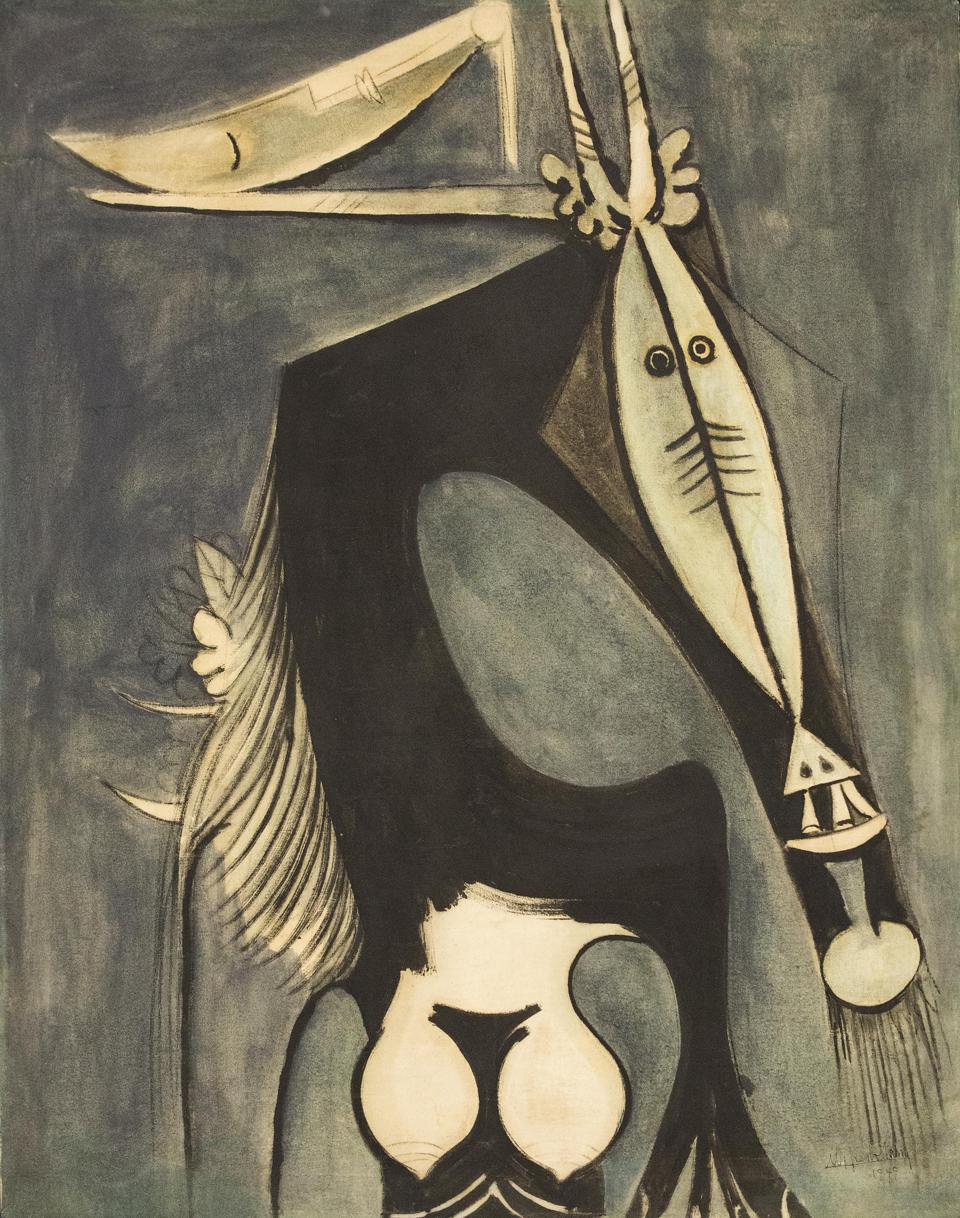 WIFREDO LAM, Cuba, 1902-1982, 'Figure,' 1949. Oil on canvas, 41 3/8 x 31 1/2 In. 105 x 80 Cm. Signed and dated lower right.