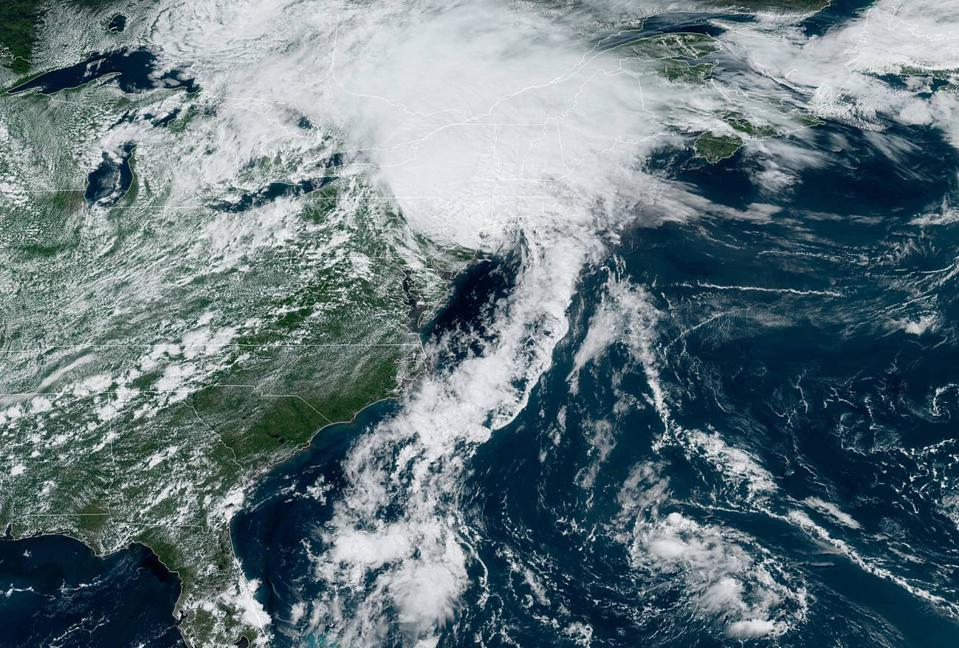 A satellite image of Tropical Storm Isaias over the northeastern U.S. on August 4, 2020.