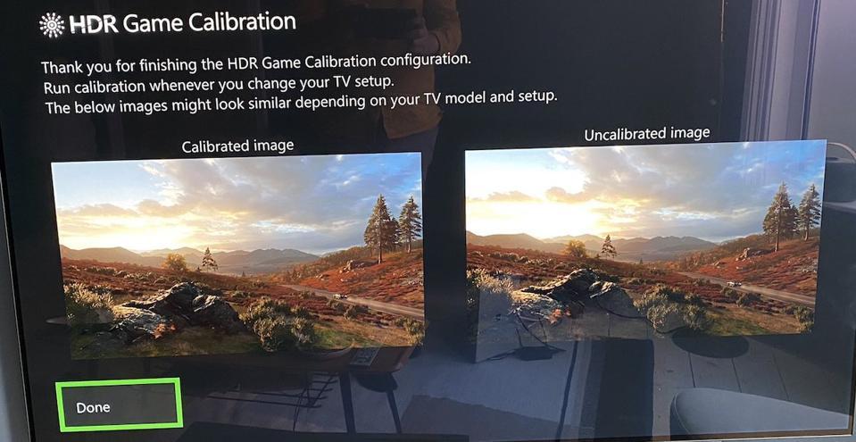 Xbox HDR Calibration screen