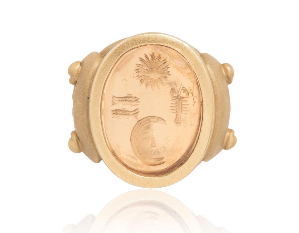 Vintage Kieselstein-Cord Gentleman's Gold and Citrine Intaglio Ring
