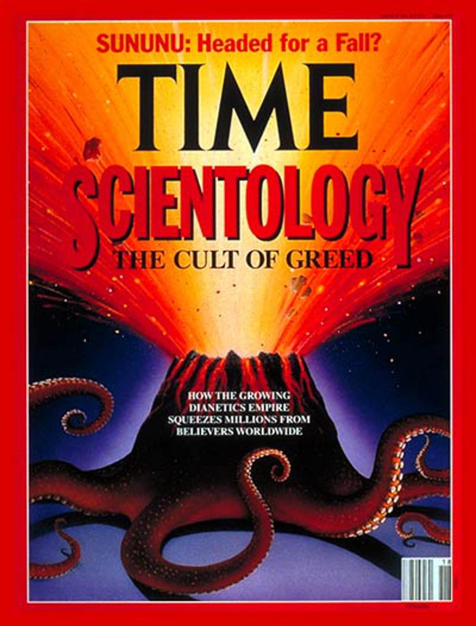 Time's 1991 ″Scientology: The Cult of Greed″ cover. In 2010, Karen Bass praised the group.
