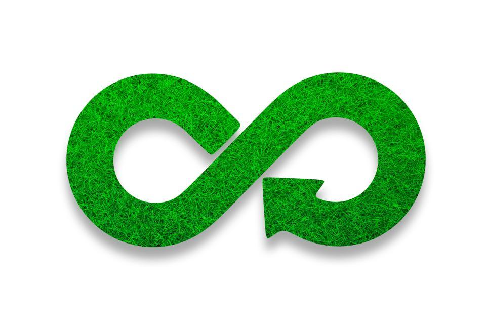 ECO, circular economy, green grass infinity arrow symbol. 3D illustration.