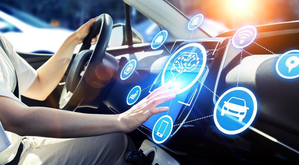 Automobile and AI (artificial Intelligence) concept. Autonomous car.