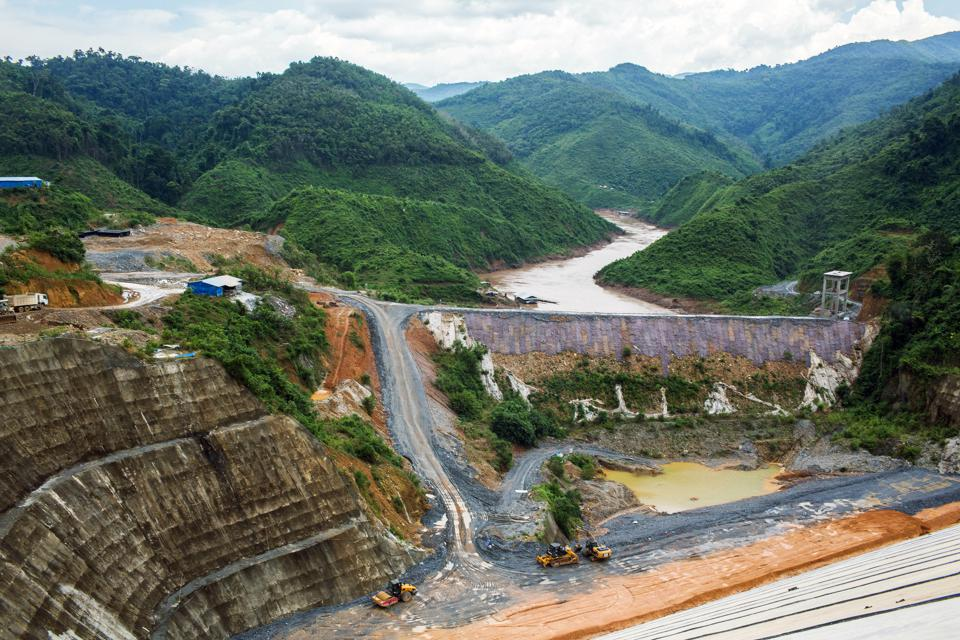 The Nam Tha 1 hydroelectric dam under construction on a tributary to the Mekong, one of dozens of dams in the Mekong basin that have reduced habitat available to migratory fish.