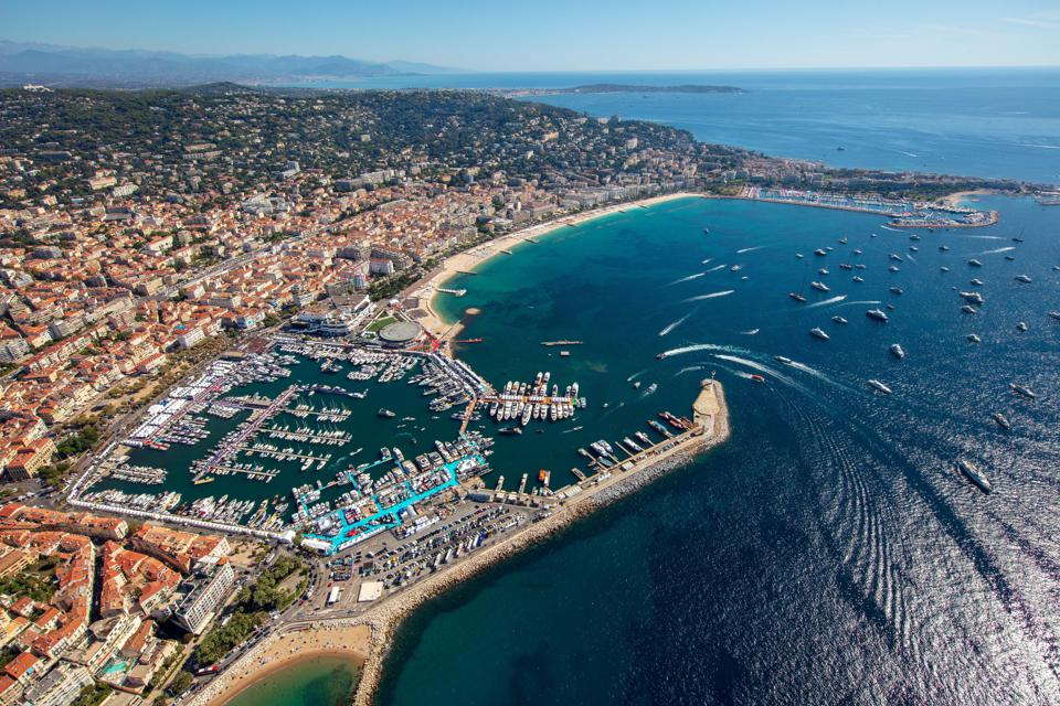 Yachts harboured in the Viex Port marina in Cannes during the Cannes Yachting Festival