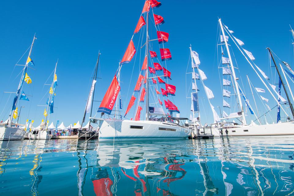 Sailing boats at the 2019 Cannes Yachting Festival in the south of France