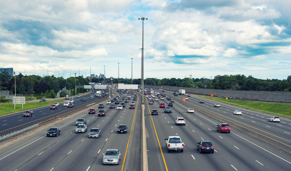 Toronto, Canada: Highway 401 at the height of Victoria Park Avenue in daytime