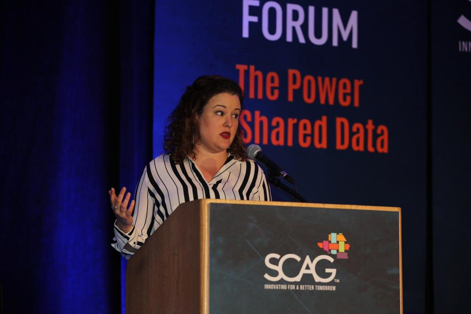 Laura Schewel, CEO and co-founder of Streetlight Data, speaks here. The San Francisco startup that analyzes vehicle, bicycle, scooter and ride-sharing traffic, announced Thursday that it raised an additional $15 million from two venture firms, Macquarie Capital and Activate Capital.