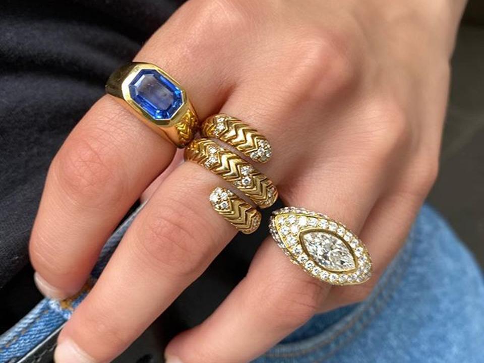 A trio of vintage Bulgari rings