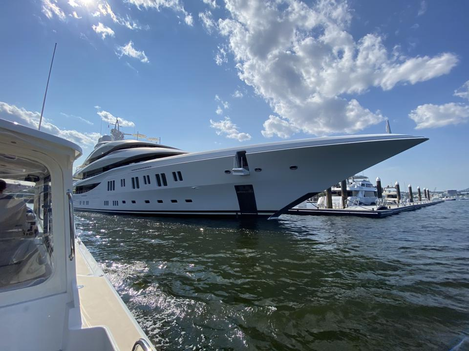 The 300-foot-long superyacht Lady Lara spotted in Boston's Yacht Haven Marina summer 2020