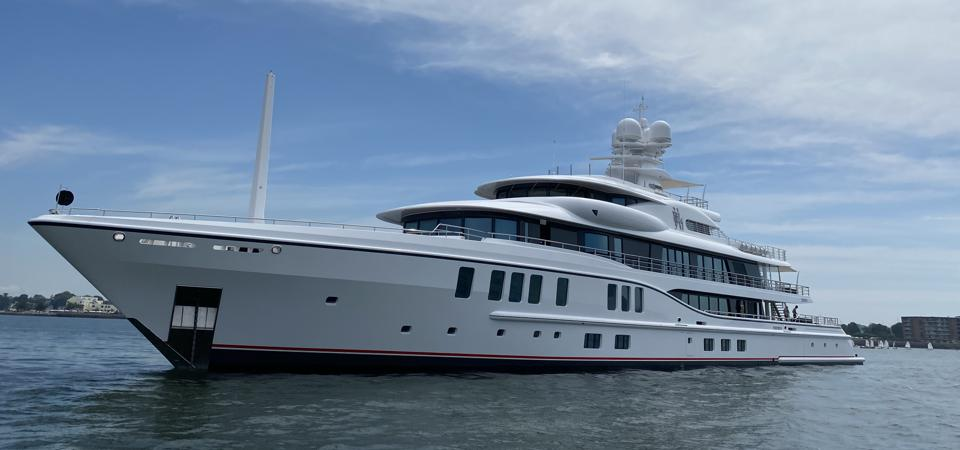 The 240-foot-long Amels Limited Edition Sixth Sence is spotted in Newport, Rhode Island summer 2020.