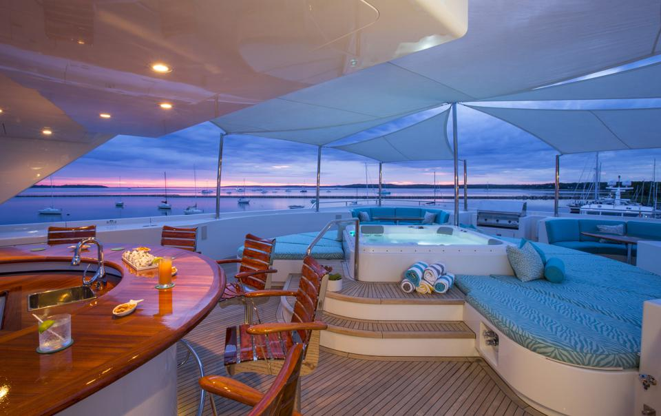 Rhino's sundeck has all you need for a superyacht staycation.