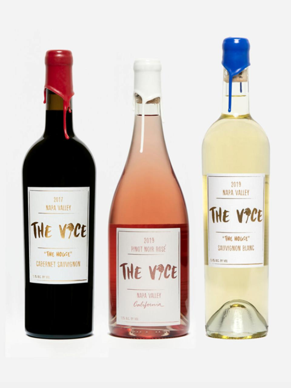 The three-pack of house wines are all hand-dipped by founder Malek Amrani.