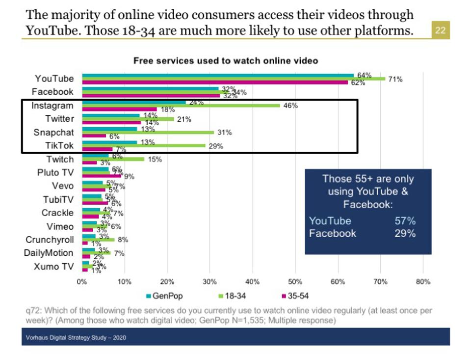 Users of digital video at YouTube, Facebook, Instagram, Twitter, SnapChat, and Tiktok