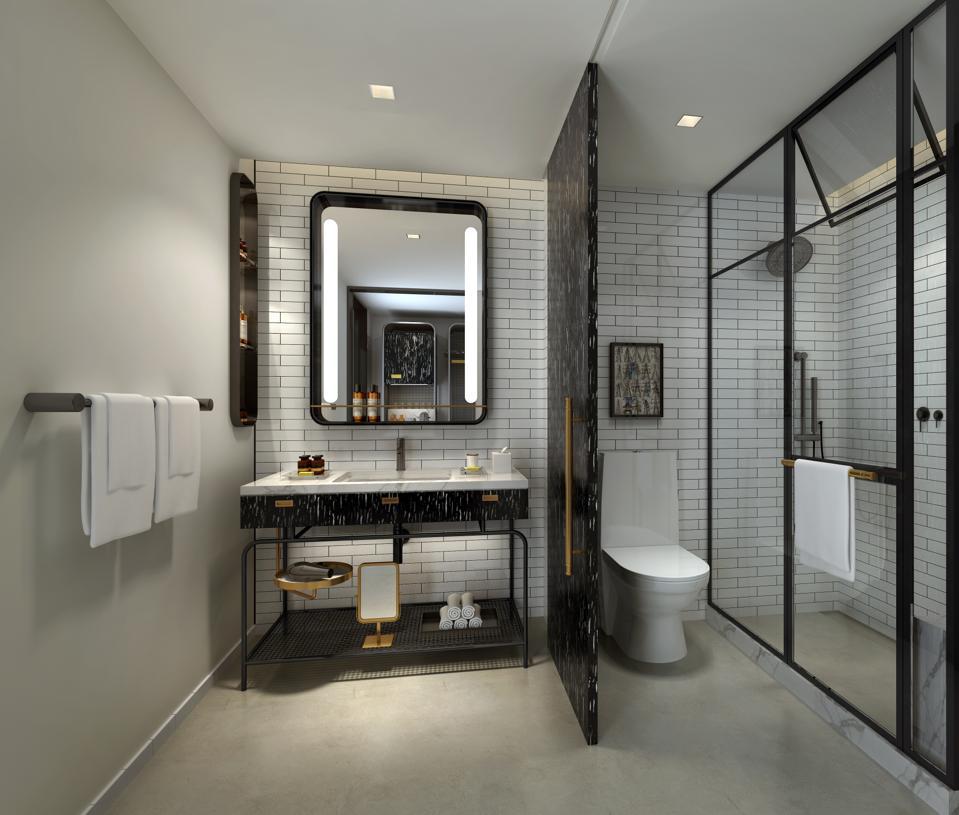 A bathroom in a hotel