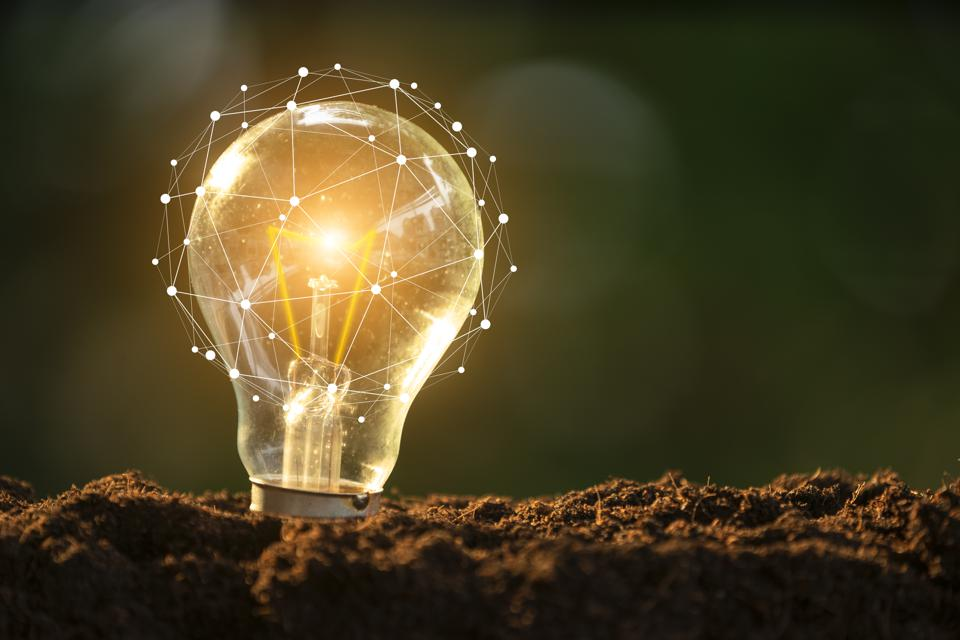Light bulb glowing in soil as idea or energy concept