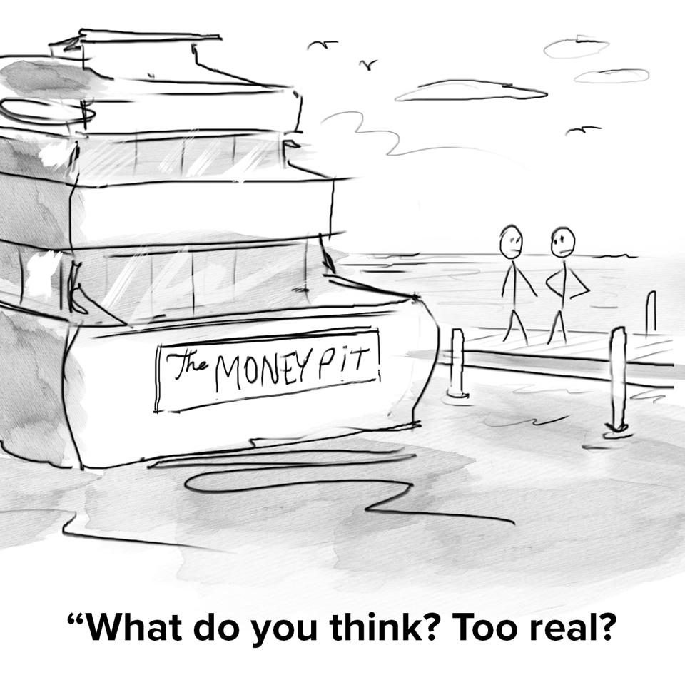 A giant yacht docked at a pier with the nameplate on the back with the name ″the money pit″ and the owner asking a friend on the dock if that's ″too real?″