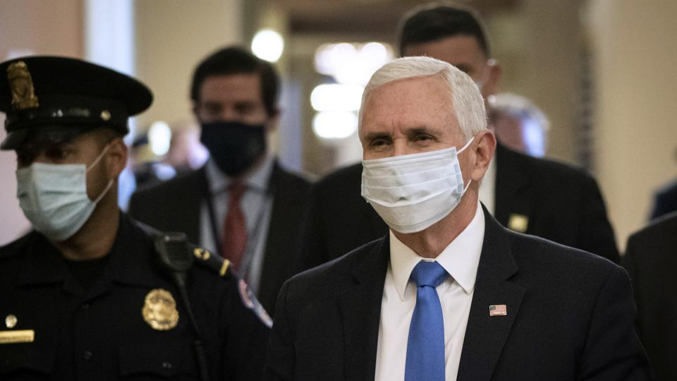 VP Mike Pence wearing a face mask
