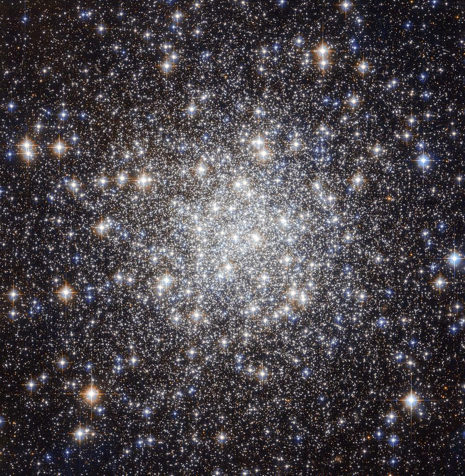 The central core of the globular cluster, Messier 56, as revealed by Hubble.