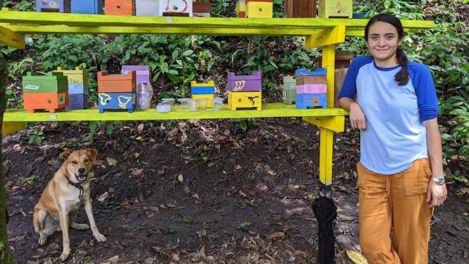 Diana Obregon at the Ayni, bee sanctuary, La Mesa, Colombia in November 2019.